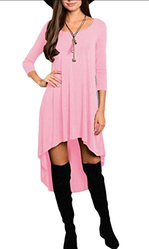Donna Bassa 3 Tunica Lunga Alto Jaycargogo Manica Casuale Solido Vestito Camicia gAwZH1WqzO
