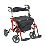 Juvo Convertible Rollator-Transport Chair, 250-Pound Capacity, Cherry Red, 20.5 Pounds (TCH101), 1 Count, 9.3 kg