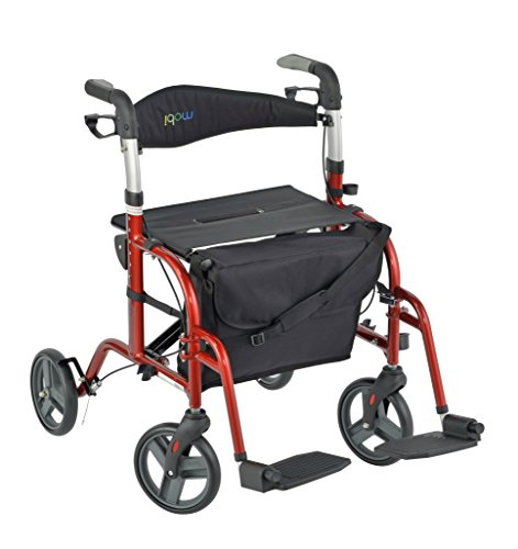 Mobi Convertible Rollator-Transport Chair, 250-Pound Capacity, Cherry Red, 20.5 Pounds (TCH101)