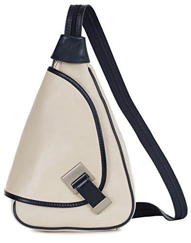 'Mila' de LiaTalia - 2en1 - Pequeño bolso de hombro para mujer ligero y convertible en mochila en auténtica piel italiana Crema - Borde Azul