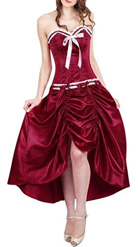 in up vino Corset di colore rosso spiaggia Bordeaux burlesque raso vintage abito Rosso elegante ExwwPqSU