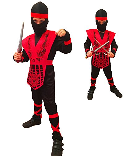 Shogun Ninja by Rubber Johnnies, Red Dragon Kids Costume (Size 8-10 Years) -