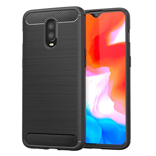 MoKo OnePlus 6T Case, Soft Lightweight TPU Bumper Cover Carbon Fiber Design Anti-Scratch Slim Back Panel Shock Aborsption Cellphone Shell Fit with OnePlus 6T - Black