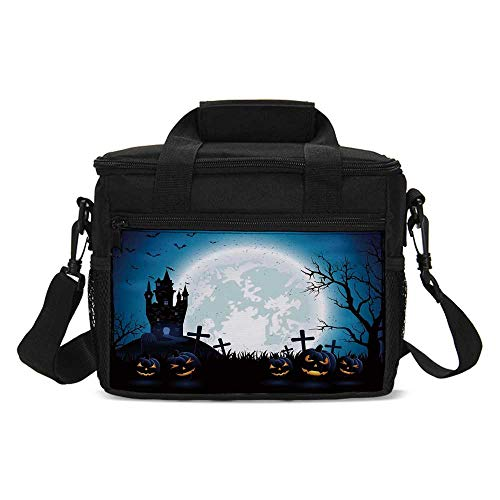 Halloween Decorations Lightweight Lunch Bag,Spooky Concept with Scary Icons Old Celtic Harvest Figures in Dark Image for Daily Use,One -
