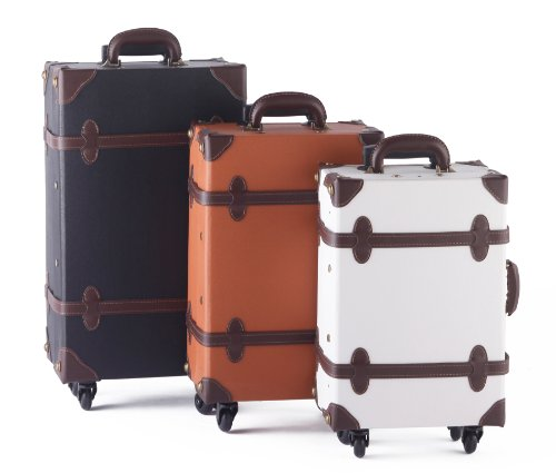 MOIERG Vintage Trolley Luggage suitcase 2tone Cotton Gray Medium (81-55046-12) by MOIERG (Image #3)