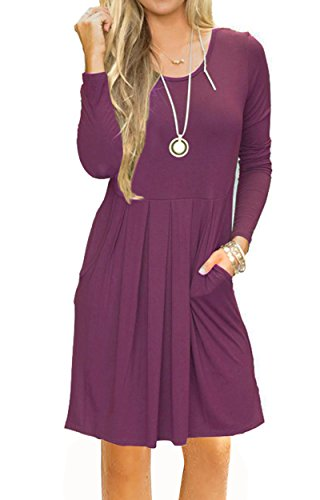 Swing R Women's Casual JOSIFER Sleeve with mauve Dress Loose Pleated T Sleeveless amp; Pockets Short Shirt w168Bx6q4