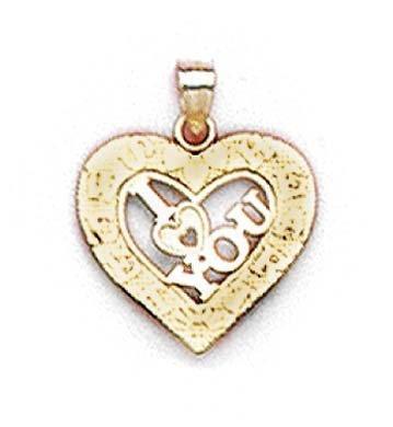 (14 carats)-I Love You-JewelryWeb Pendentif