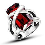 LOMOL Euroupe And America Popular Fashion Ruby Titanium Steel Ring For Men&Women