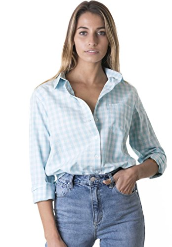 CAMIXA Women's Gingham Shirt Checkered Casual Long Sleeve Button Down Plaid Top XL Aqua
