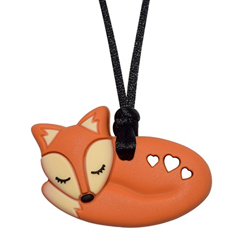 Foxy Fox Necklace (Brown) - Sensory Oral Motor Aide Chewelry Necklace - Chewy Jewelry for Sensory-Focused Kids with Autism Or Special Needs - Calms Kids and Reduces Biting/Chewing/Fidgeting (Fox Jewelry)