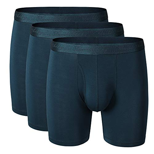 David Archy Men's 3 Pack Ultra Soft Micro Modal Boxer Briefs with Fly Boxer Shorts (XL, Navy Blue)