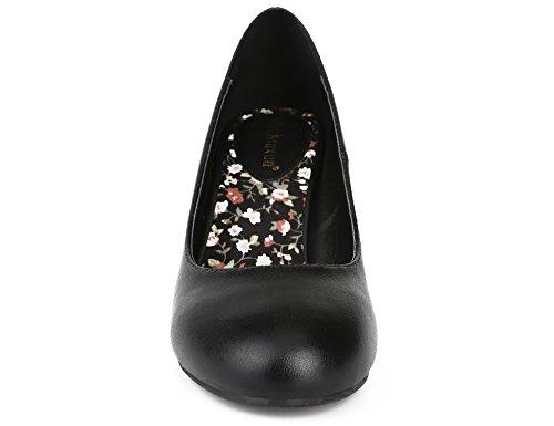Max Muxun Womens Black Suede Block Heel Slip On Formal Pumps Court Shoes Size 3 UK/36 EU Black Plaid 8Oy0vGk