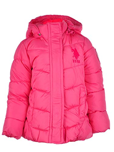 U.S. Polo Assn Baby Girls' Peplum Bubble Jacket, Medium Pink, 12M ()