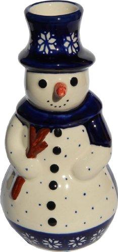 Polish Pottery Snowman - Polish Pottery Snowman Candlestick Holder From Zaklady Ceramiczne Boleslawiec #1409-243a Classic Pattern, Height: 6.3