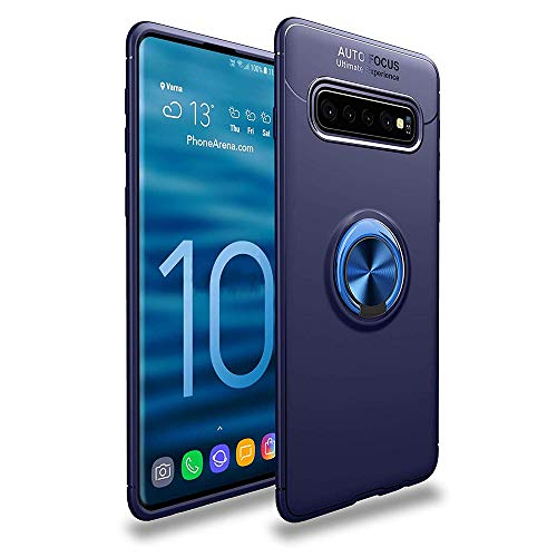 (Lozeguyc Galaxy S10 Case,Soft TPU Hidden Kickstand S10 Back Case with Magnetic Car Mount Holder Kickstand Drop Protection Defender Case for Samsung Galaxy S10-Blue)