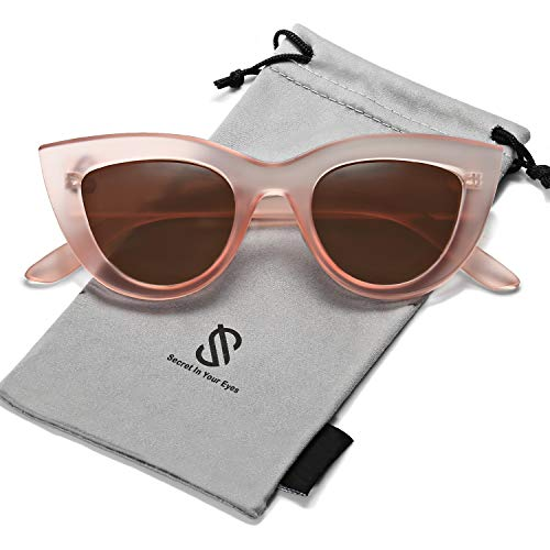 SOJOS Retro Vintage Cateye Sunglasses for Women Plastic Frame Mirrored Lens SJ2939 with Pink Frame/Brown ()