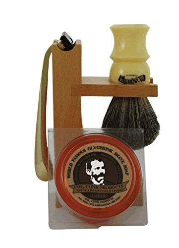 Colonel Conk Model 237 4-Piece Hardwood Stand Shave Set with Mixed Badger Brush, Gold Tone Razor and Soap
