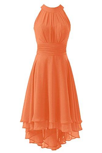 KevinsBridal Women's High Low Short Bridesmaid Dresses Chiffon Halter Prom Dress Light Orange Size 4