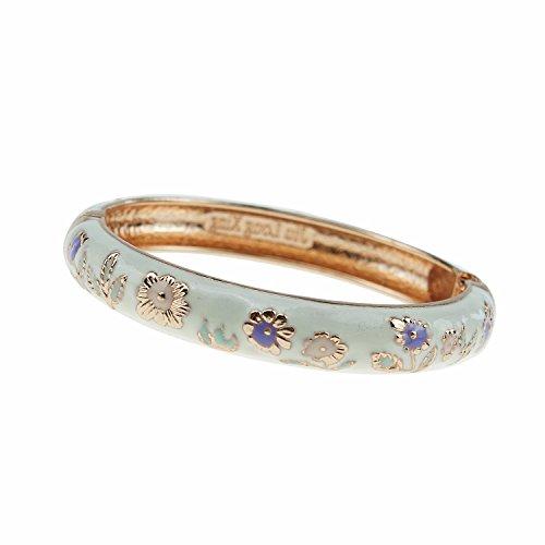 UJOY Fashion Bracelet Colorful Enameled Flower Cuff Bangle Cloisonne Bracelets Jewelry Gift for Women 55A18 Sunflower White
