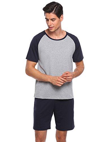 (Ekouaer Mens Raglan Short-Sleeve Top with Shorts Pajama Sets (XXL, 7143-Navy Blue))