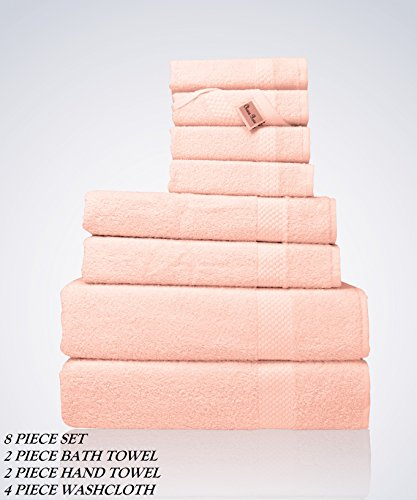 Light Pink Rose Meaning (Lint Free 8 Piece Bulk Turkish Towel Set Clearance Prime Bathroom (2 Bath 2 Hand 4 Washcloths Pack) 450 GSM Quick Dry Off Premium Cotton Spa Hotel Quality Luxury Designer 2018 Collection Bundle Pink)