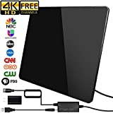 [2019 Newest] HDTV Antenna,Indoor Digital TV Antenna Amplified Support 4K 1080P VHF UHF & Older TV's Digital Antenna with Amplifier Signal Booster,17ft Coax Cable/USB Power Adapter (150Miles)
