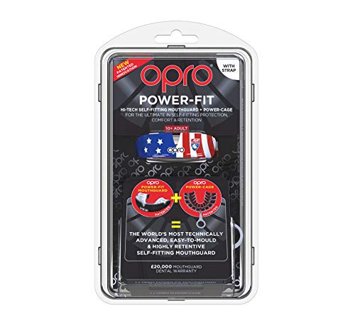OPRO Power-Fit Mouthguard | Adult Handmade Gum Shield + Strap for Football, Lacrosse, Hockey and Other Contact Sports - 18 Month Dental Warranty (Ages 10+) (Official Mouthguard of AYF) by OPRO (Image #1)