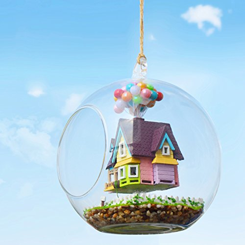 DIY Miniature Dollhouse Glass House Kit Furniture Wooden Handmade Creative Room Glass Ball Model Dollhouse Toy Gift For Kids 1:24 Scale Dollhouse (Flying Cabin Destiny)