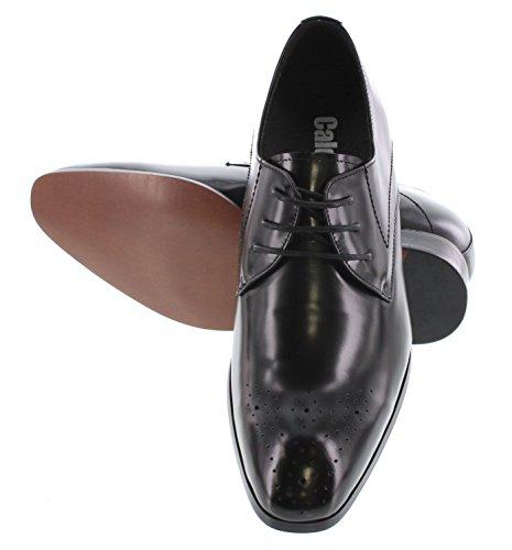 Calden - K323011 - 3 Pulgadas Taller - Zapatos Elevadores De Altura Creciente - Zapatos De Vestir Con Cordones Negros
