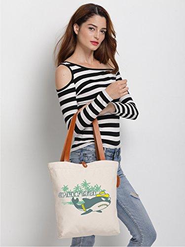 IN.RHAN Womens Shark Captain Graphic Canvas Tote Bag Casual Shoulder Bag Handbag