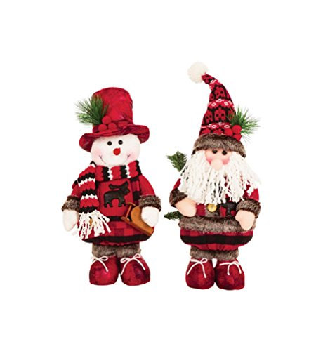 Celebrations Jk46341 Christmas Standing Santa and Snowman Decoration, Multicolored