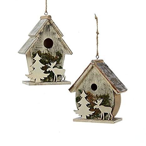 Christmas Birdhouses.Birdhouses With Moose And Tree Moss Christmas Holiday Ornaments Set Of 2