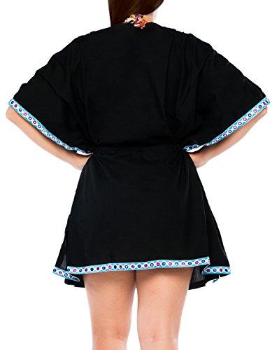 occultamento ricamato vestito costumi Nero leggero da costume da LEELA del bikini bagno bagno camicia beachwear d757 LA di qpE7wRR