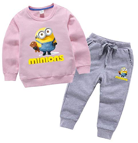 Toddler Minions Boys Girls Long Sleeve Hoodie Tops Sweatsuit Pants Outfit Set(Pink, 5T)]()