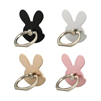 (4 pcs)NEUP Cell Phone Holder,Rabbit Phone Ring Kickstand,Universal 360 Rotation Cell Phone Finger Ring Grip for Iphone and Almost All Phones/Pad(4 Color Rabbit)