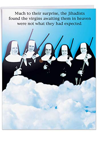 8.5 x 11 Inch Happy Birthday Paper Card (With Envelope) - Funny Virgins In Heaven Nuns Holding Rifles - Hilarious Congratulations Greeting on This Special Day (Extra Large) J0765 -