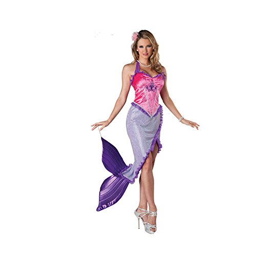 [Mermaid Costume Adult Female Costume Halloween Cosplay Dress (Pink+Purple)] (Sea Siren Sexy Costumes)