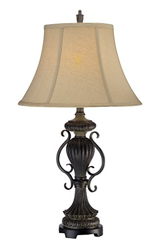 Taple Lamp (Lite Source CF41271 Mikael Table Lamp, Two-Tone, Beige Fabric Shade)