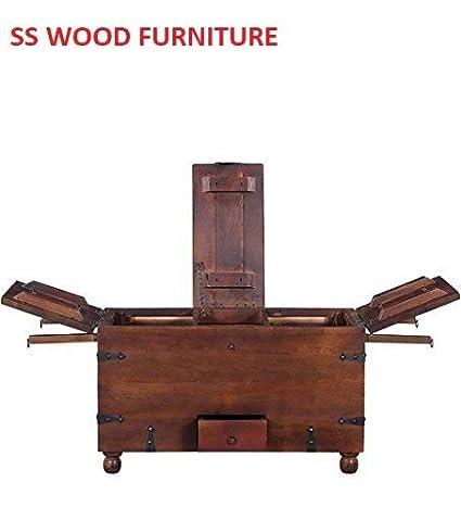 SS WOOD Furniture Altavista Brewbox Solid Wood Bar Cabinet (Teak Finish)