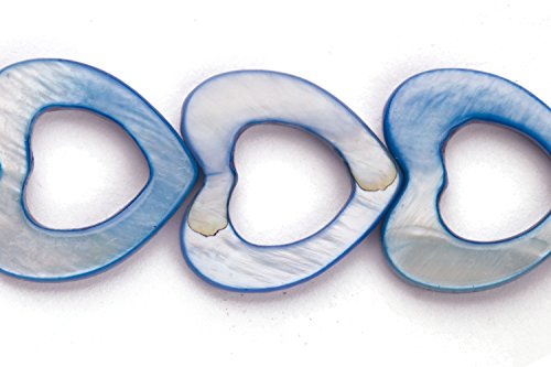 - Denim Blue Mother-Of-Pearl Open Heart Shell Beads Size:17x17mm