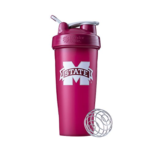 BlenderBottle Collegiate Classic 28-Ounce Shaker Bottle, Mississippi State University Bulldogs - Burgundy/Burgundy