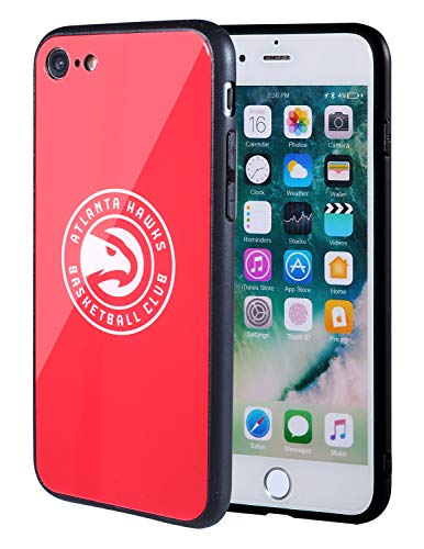 The Mass iPhone 8 case, iPhone 7 case, NBA Team Logo on Tempered Glass Back Cover and Soft TPU Frame for Apple iPhone 8/7 (Atlanta Hawks, 4.7 inch)
