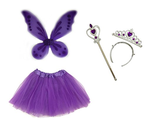 [Rush Dance Ballerina Princess Fairy Dress up - Pixie Wings, Wand, Tiara & Tutu (One Size, Purple)] (Batman And Robin Tutu Costumes)