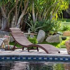 Rema Wave Folding Patio Chaise Lounge with Adjustable Headrest Made w/ Acacia Wood in Oil Dark Brown 69L x 21W x 28H in.