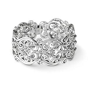 Carolyn Pollack Sterling Silver Filigree Design Link Bracelet Size S, M or L