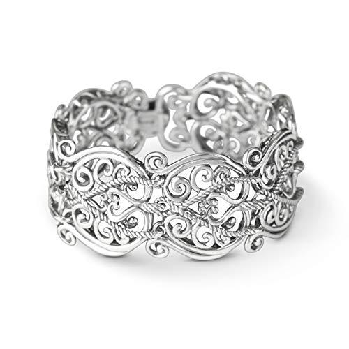 Carolyn Pollack Sterling Silver Filigree Design Link Bracelet Size ()