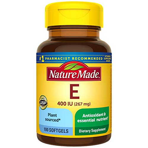 Nature Made Plant Sourced* Vitamin E 267 mg (400 IU) d-Alpha Softgels, 100 Count for Antioxidant Support (Pack of 3)