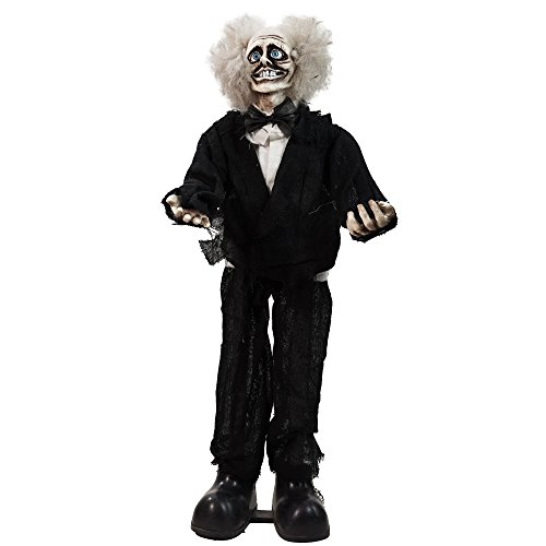 Northlight Touch A Countivated Standing Crazy Old Man Animated Halloween Decoration with Sound, 31
