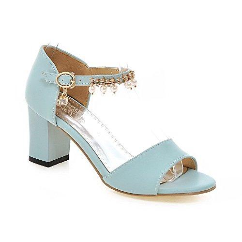 AmoonyFashion Womens Solid PU Kitten-Heels Open-Toe Buckle Sandals Blue oby4hKJ