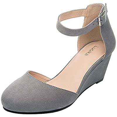 Luoika Women's Wide Width Mini Wedges - Comfortable Mid Low Heel Ankle Buckle Strap, Plus Size Round Closed Toe.(180323,Grey,size13)